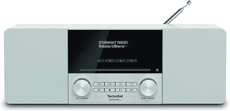 Technisat Digitradio 3 Stereo Dab Radio Kompaktanlage Dab Ukw Cd Player Bluetooth Usb Kopfhöreranschluss Aux Eingang Radiowecker Oled Display 20 Watt Rms Weiß Heimkino Tv Video
