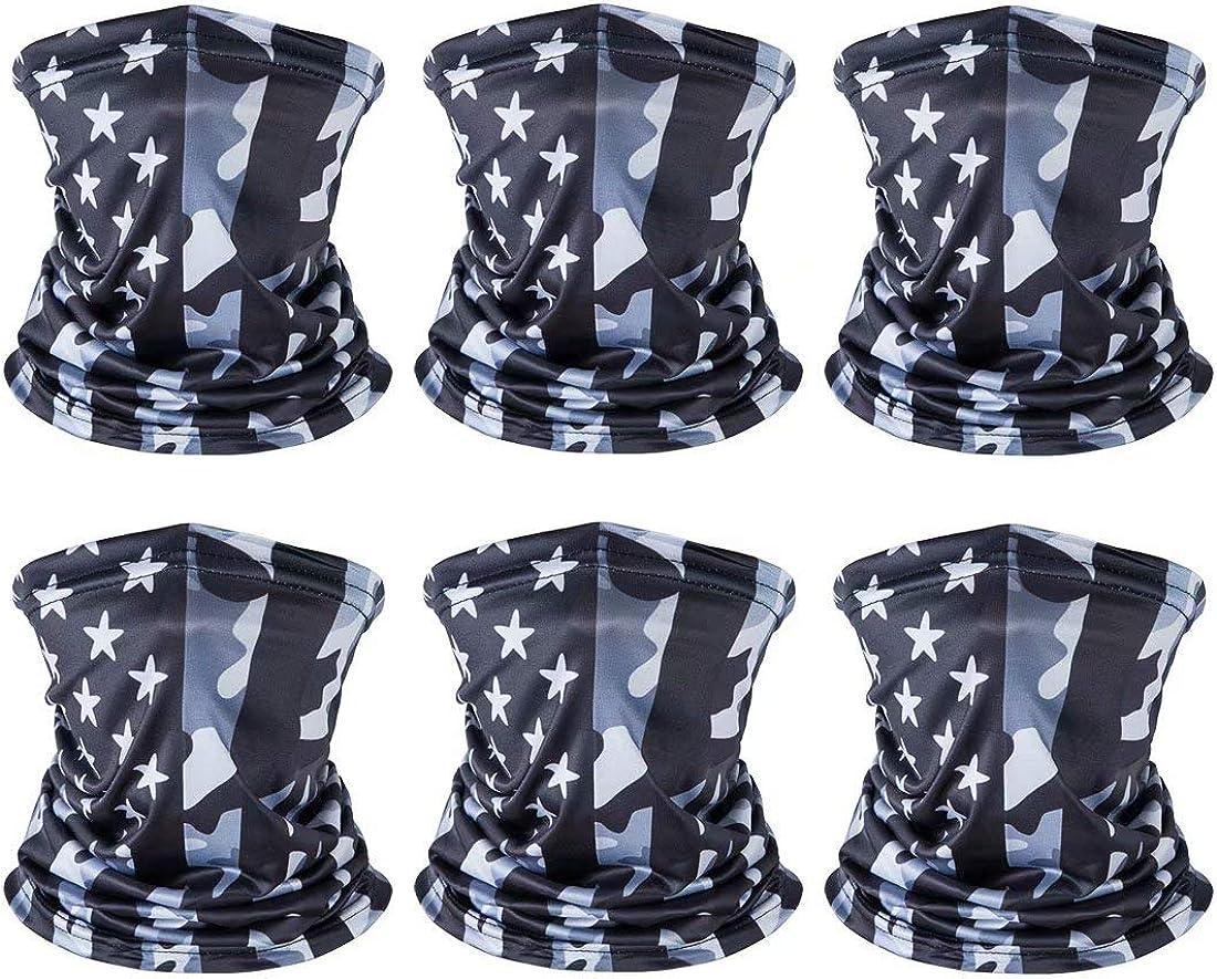 American US Flag Face Bandana Neck Gaiter, Sun UV Dust Protection Reusable Half Mask Scarf Balaclava Headwear for Men Women