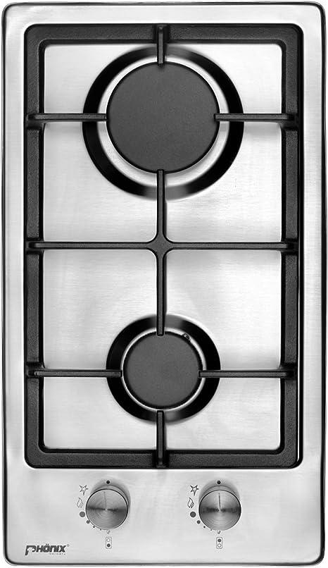 Phönix Domino - Cocina de gas de acero inoxidable con 2 fuegos de acero inoxidable, autosuficiente, para camping, propano o gas natural con soporte de ...