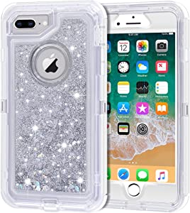 iPhone 8 Plus Case, iPhone 7 Plus Case, Anuck 3 in 1 Hybrid Heavy Duty Defender Case Sparkly Floating Liquid Glitter Protective Hard Shell Shockproof TPU Cover for iPhone 7 Plus /8 Plus - Silver