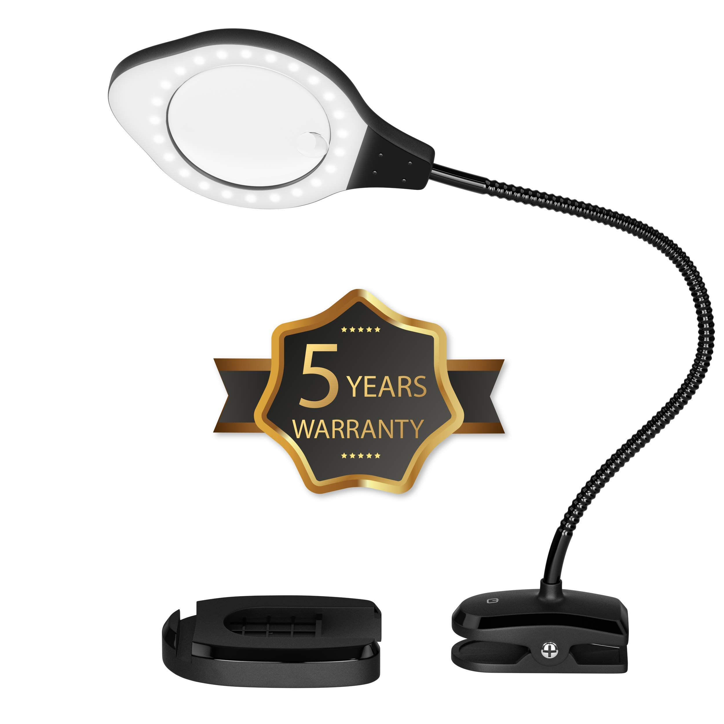 2-4X Magnifying Lamp with LED Light, 5 Year Warranty 3 Brightness Settings, Adjustable Goose Neck, Weighted Bottom for Stability. Perfect for Reading, Crafts,Work