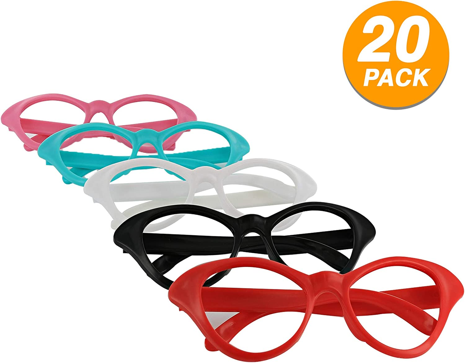 Eye Glasses Nifty 50's Theme Party Cat Style Super Fashion Clear Lens Eyewear Party Favor Fun Costume Accessory Multi Colors Durable Sunglasses (20 Pisces) - By Ram-Pro