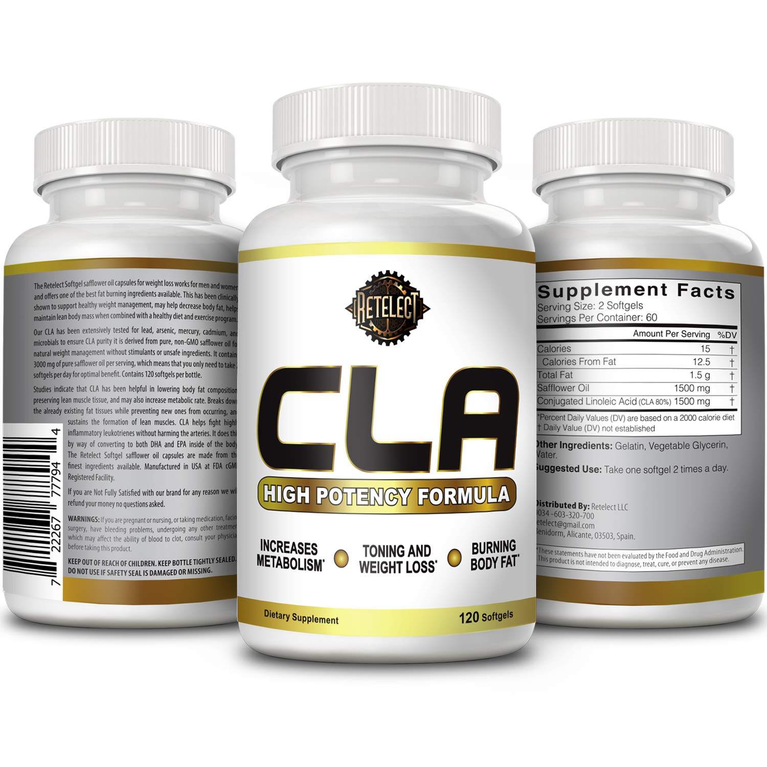 Amazon.com: Retelect Extra Strength Vegan Friendly 1500mg CLA (Conjugated Linoleic Acid) Weight Loss and Fat Burner Softgels Made from Safflower Seeds ...