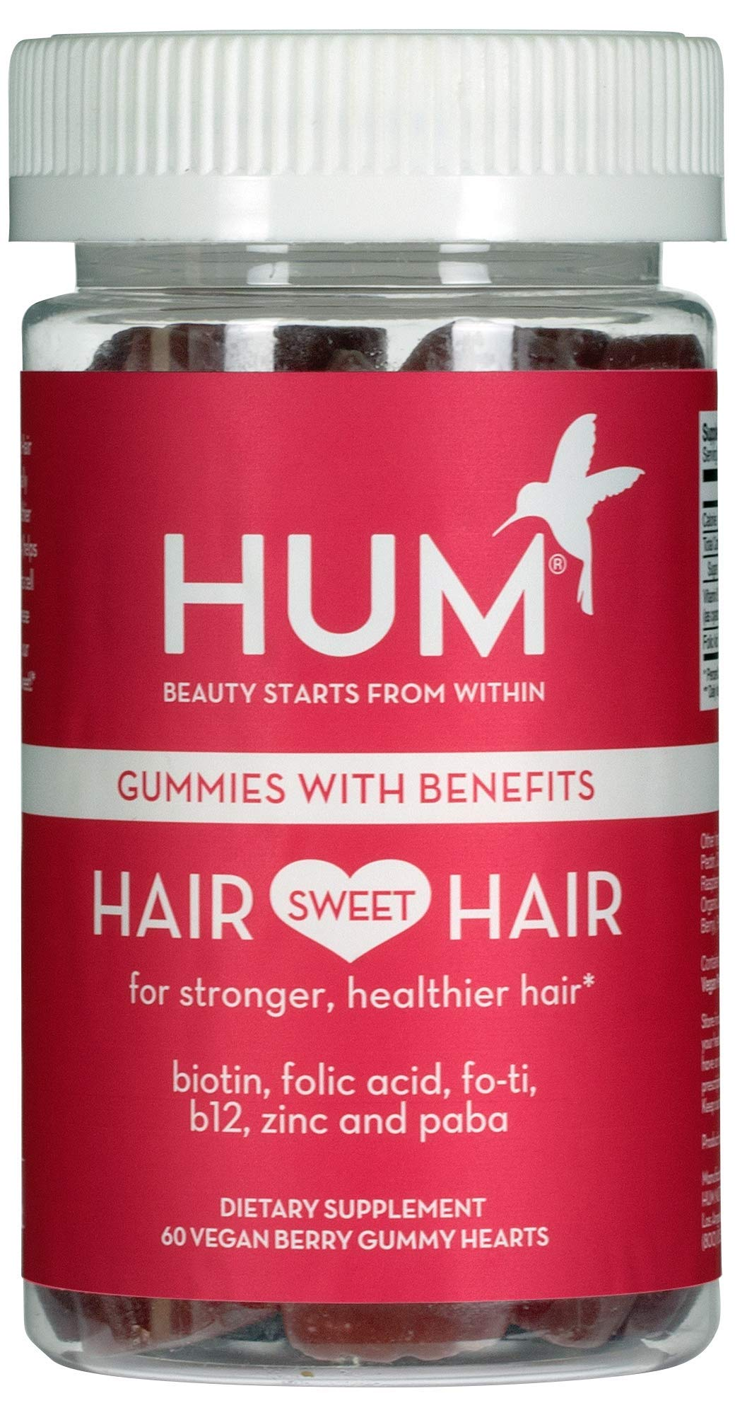 HUM Hair Sweet Hair - Vegan Hair Gummies with 5000mcg Biotin, B Vitamins, Fo-Ti & Zinc (60 Berry Flavored Gummies) by HUM
