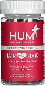 HUM Hair Sweet Hair Gummies - Hair Growth Vitamins with 5000mcg Vegan Biotin, B Vitamins, Fo-Ti & Zinc - Supports Hair Growth - Vegan, Gluten Free and Non GMO (60 Berry Flavored Gummies)