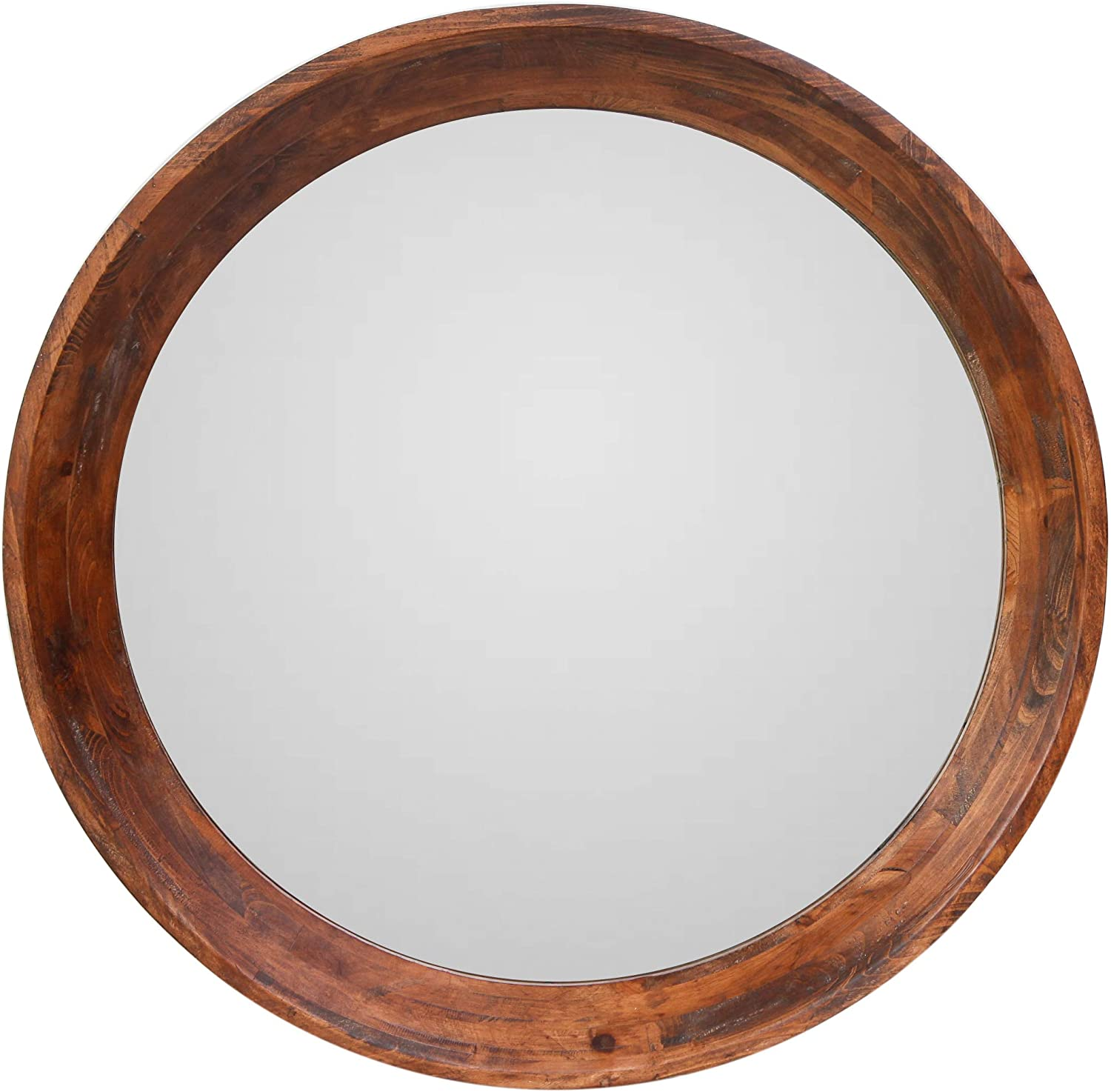 NIKKY HOME Large Circle Wall Mirror 30 Inch Vintage Decorative Wooden Round Vanity Wall Mounted Mirror for Entryways, Washrooms, Living Rooms, Bathroom - Brown