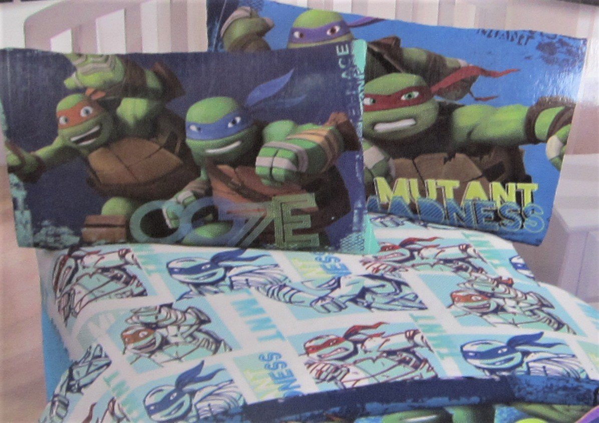 Teenage Mutant Ninja Turtles Zing With Awesomeness 100% Microfiber (FLAT SHEET ONLY) Size TWIN Boys Girls Kids Bedding