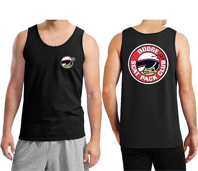 abeb42d509a8e0 Amazon.com  Lucky Ride Dodge Scat Pack Club Mopar Men s Tank Top Shirt  Front   Back  Clothing