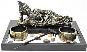 Tabletop Zen Garden Sleeping Relaxing Buddha Rock Rake Candle Holder Home Decor