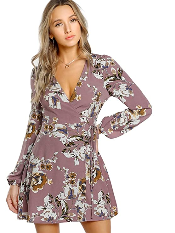 Milumia Women's Vintage Floral Print Boho Split Wrap Slim Dress Large Multicolor-Blue