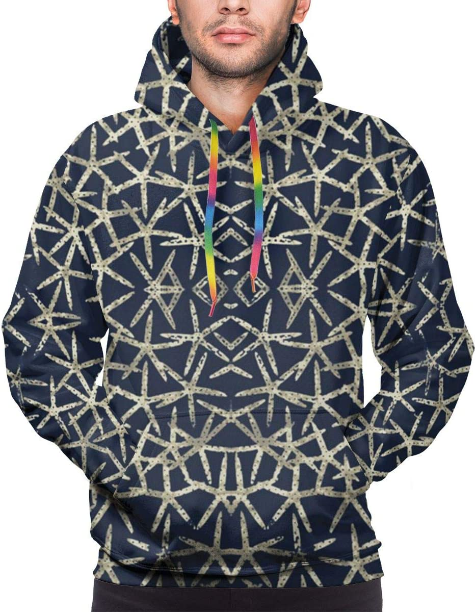 DUDBFGG Starfish Indigo Men Lightweight Hooded Sweatshirt Causal Sport Hoodie