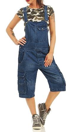 Jet Lag Damen Loose Fit Jeans Overall A Shorts Kurze Latzhose mit Seitentaschen