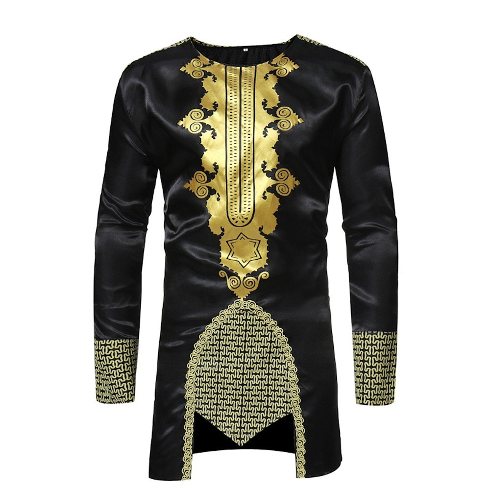 Faionny Clearance Sale African Dashiki Men Slim Tops Hot Gold Printed Blouse Long-Sleeved Lapel Shirt