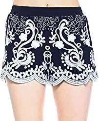 95f13dfbbfbcd5 Fashionazzle Women's Casual Summer Beach Shorts Solid and Print