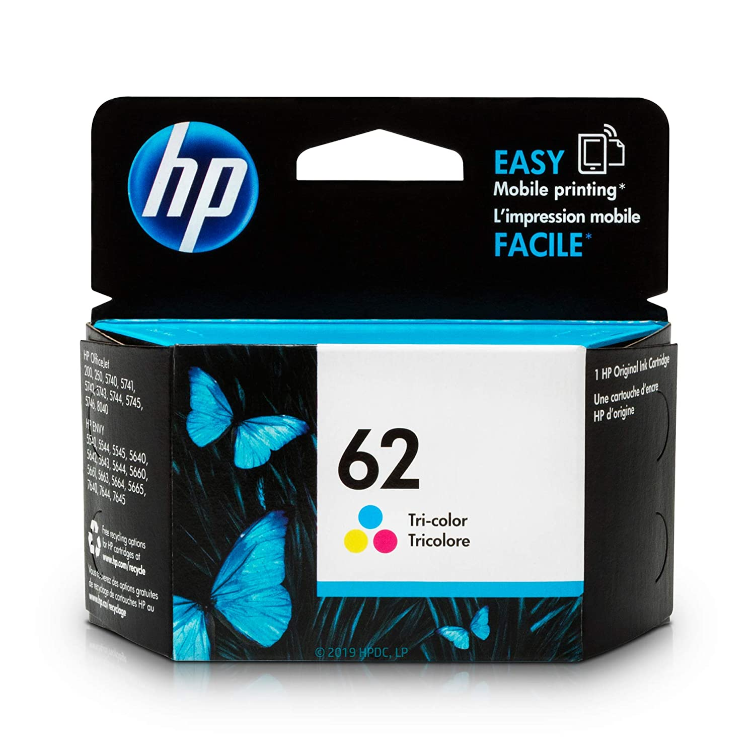 HP 62 Tri-color Ink Cartridge (C2P06AN) for HP ENVY 5540 5541 5542 5543 5544 5545 5547 5548 5549 5640 5642 5643 5644 5660 5661 5663 5664 5665 7640 7643 7644 7645 HP Officejet 200 250 258 5740 5741