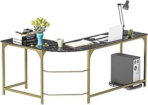 Teraves Reversible L-Shaped Desk Corner Gaming Computer Desk Office Workstation Modern Home Study Writing Wooden Table