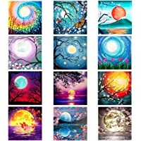 XPCARE 12 Pack 5d Diamond Painting Kits Round Full Drill Acrylic Embroidery Cross Stitch for Home Wall Decor Moon(Canvas…