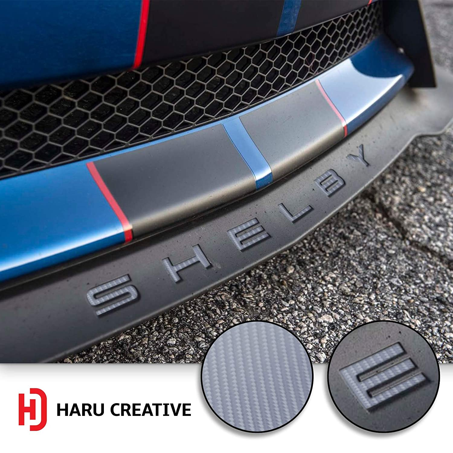 Haru Creative 4D Carbon Fiber Silver Front Splitter Lip Hood Grille Letter Insert Overlay Vinyl Decal Compatible with and Fits Mustang Shelby GT350 2015-2018