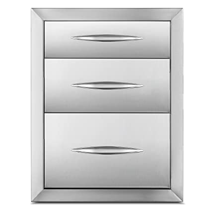 Happybuy Outdoor Kitchen Drawers 20.25x14 Inch Stainless Steel Triple  Access BBQ Drawers with Handle