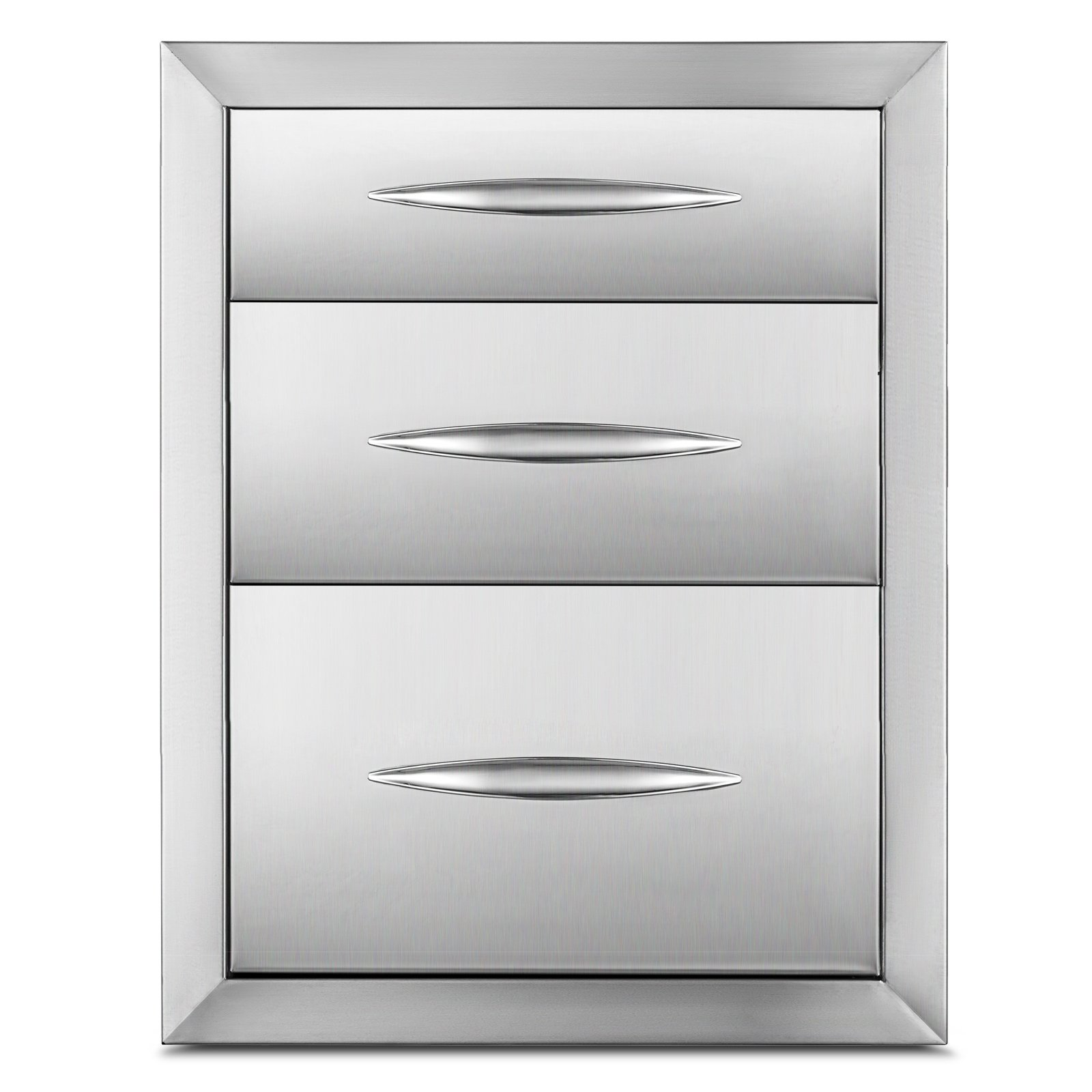 Happybuy Outdoor kitchen drawer 20.25''x14'' Stainless steel BBQ Island Drawer storage with Chrome Handle Triple Access Drawer Flush Mount Sliver Double Access Drawer (Outdoor kitchen drawer 20.25''x14'')