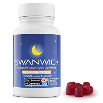 Melatonin Sleep Gummies by Swanwick | Herbal Vitamin Supplement for a Natural Restful Good Night (