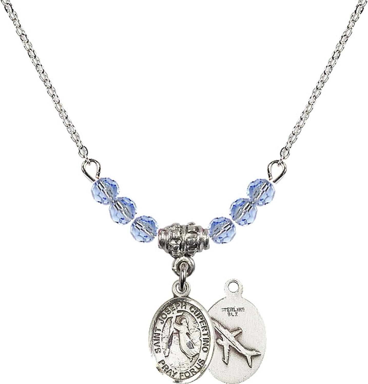Bonyak Jewelry 18 Inch Rhodium Plated Necklace w// 4mm Light Blue September Birth Month Stone Beads and Saint Joseph of Cupertino Charm
