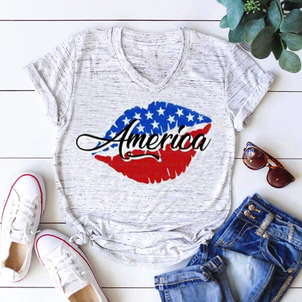 Allywit Women Plus Size Independence Day Print Short Sleeve T-Shirt American Flag Stripe Print Tops Blouse Tops