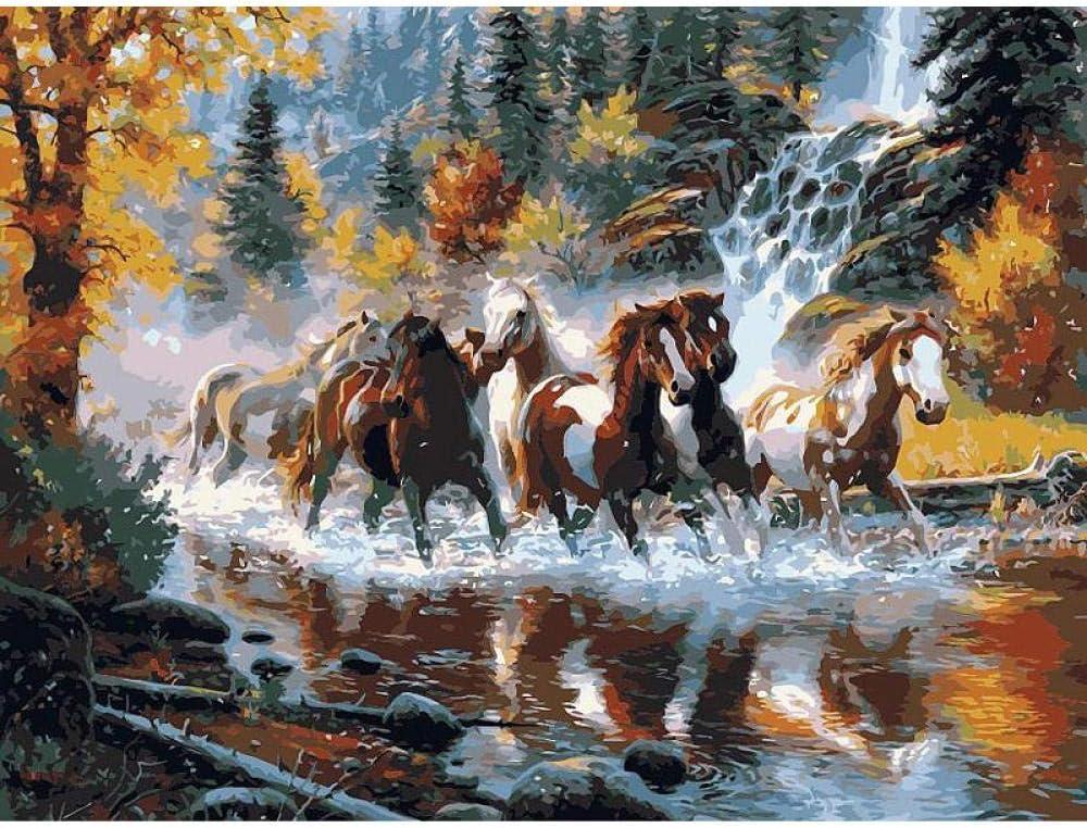 DIRART - Juego de pinturas al óleo para adultos con diseño de caballo galopante hecho a mano de alta calidad, bonito regalo sorpresa grande, 40 x 50 cm sin marco
