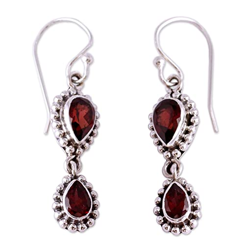 NOVICA Garnet .925 Sterling Silver Teardrop Dangle Hook Earrings Halo of Beauty