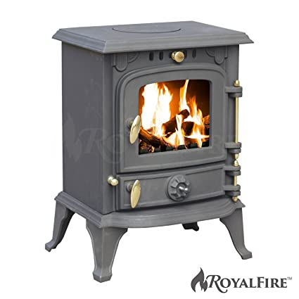 Royal FireTM - Stufa a legna in ghisa, 5,5 kW, uso con vari ...