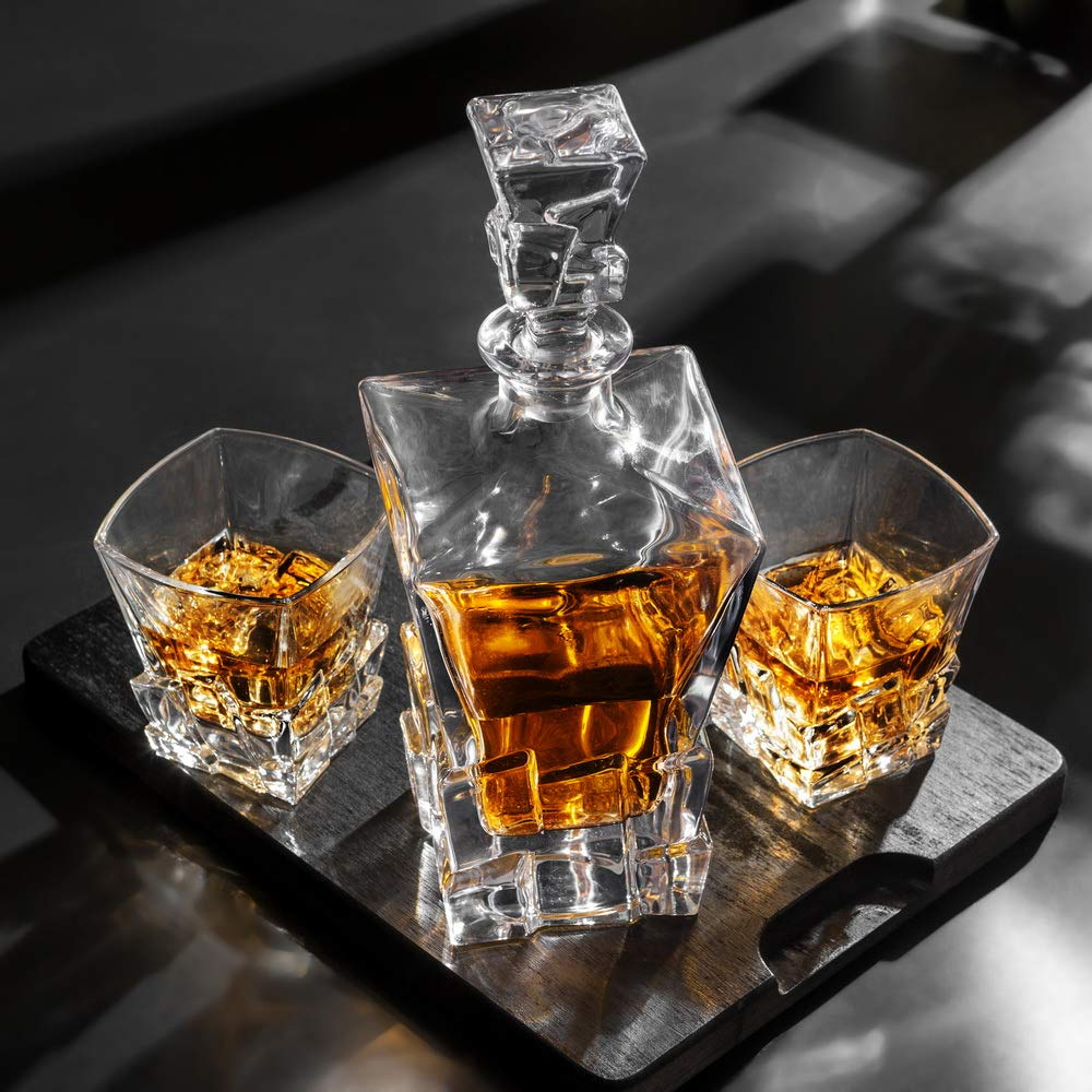 KANARS Iceberg Whiskey Decanter Set With 4 Glasses In Luxury Gift Box - Original Lead Free Crystal Liquor Decanter Set For Scotch or Bourbon, 5-Piece by KANARS (Image #10)