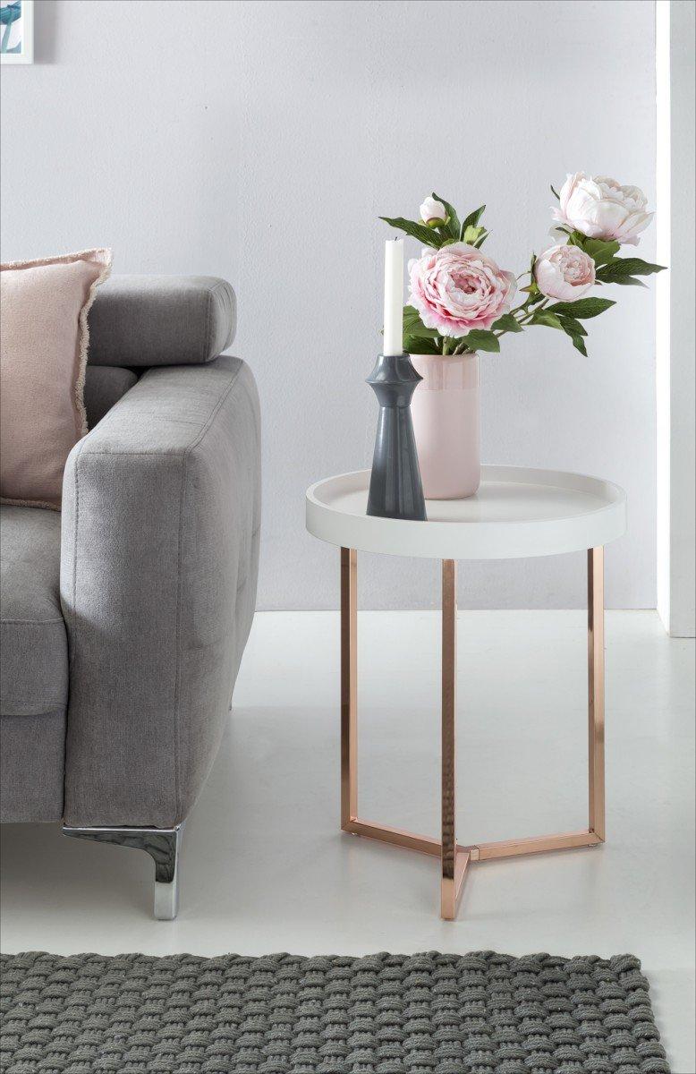 Design Beistelltisch Weiß Kupfer ø 40 cm Tabletttisch Holz Metall   Wohnzimmertisch mit Tablett Sofatisch modern   Kaffeetisch rund