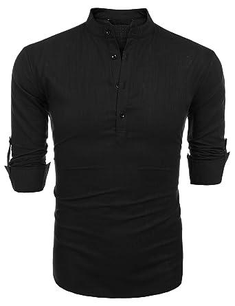6bfd589f4a7e Imposes Herren Leinenhemd Sommer Langarm Leinen Hemd Slim Fit Casual  Stehkragen Hemd  Amazon.de  Bekleidung
