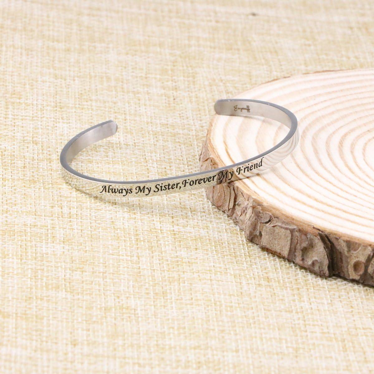Joycuff Cuff Bracelets Always My Sister Forver My Friend Inspirational Friendship Jewelry Gift Girls