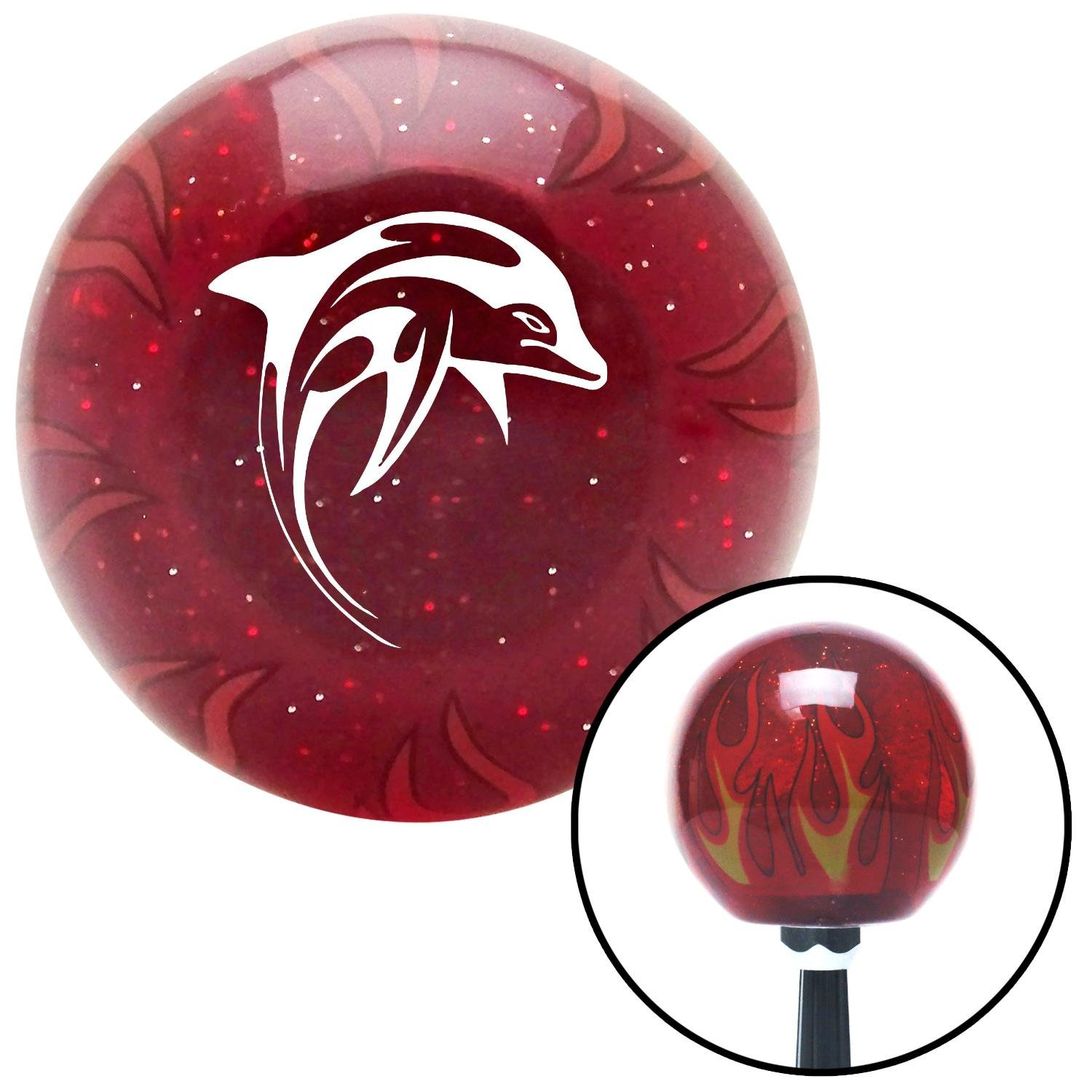 White Dolphin American Shifter 242055 Red Flame Metal Flake Shift Knob with M16 x 1.5 Insert