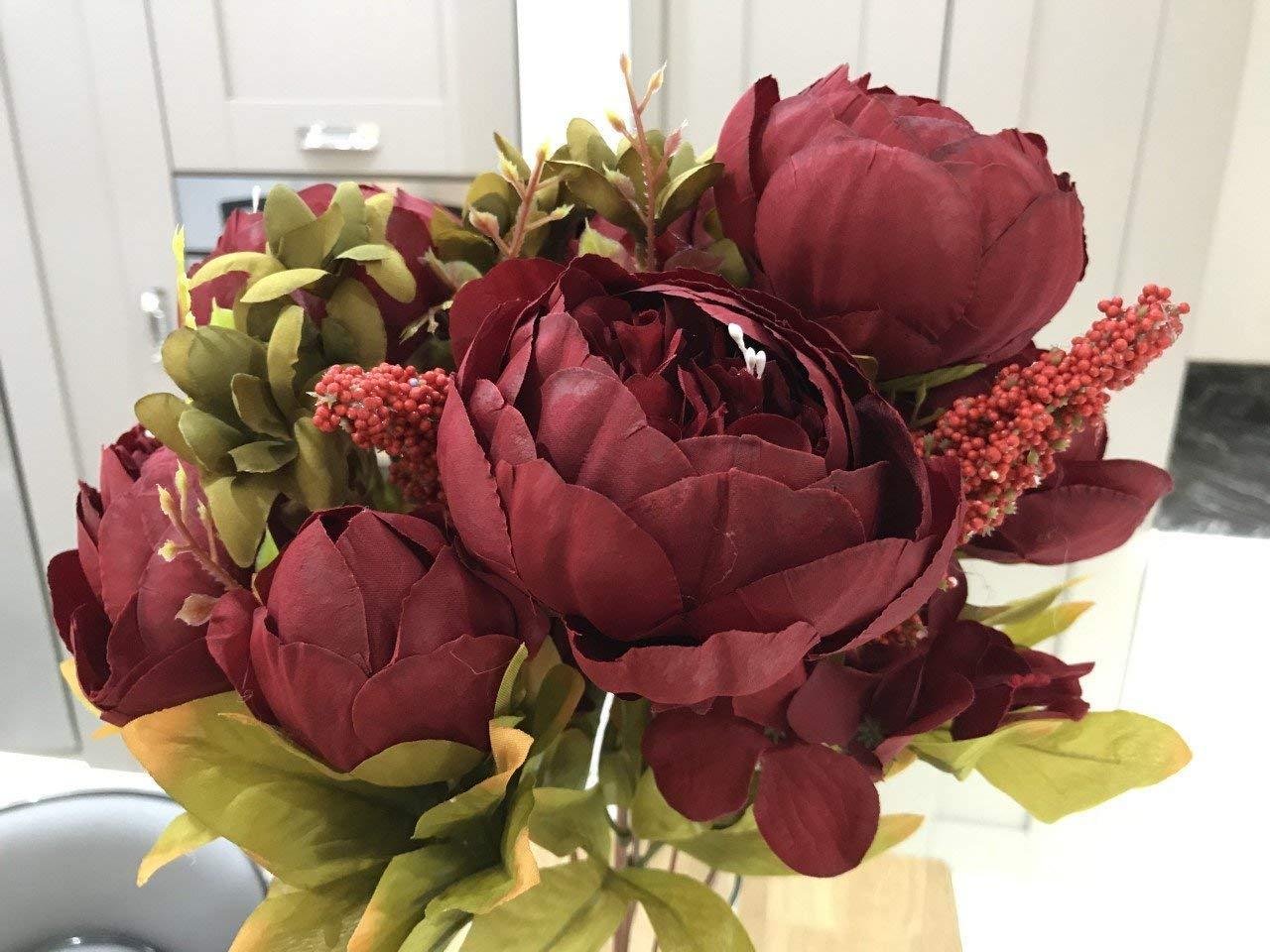 silk flower arrangements maylife 50cm vintage silk flower peony spray bouquet wedding home decoration arrangement (burgundy)