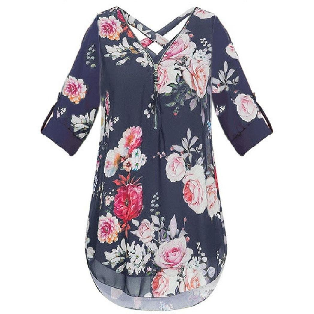 Easytoy Women's Half Sleeve Floral Printed Chiffon Blouse Criss Cross Back Casual Zip up Shirt