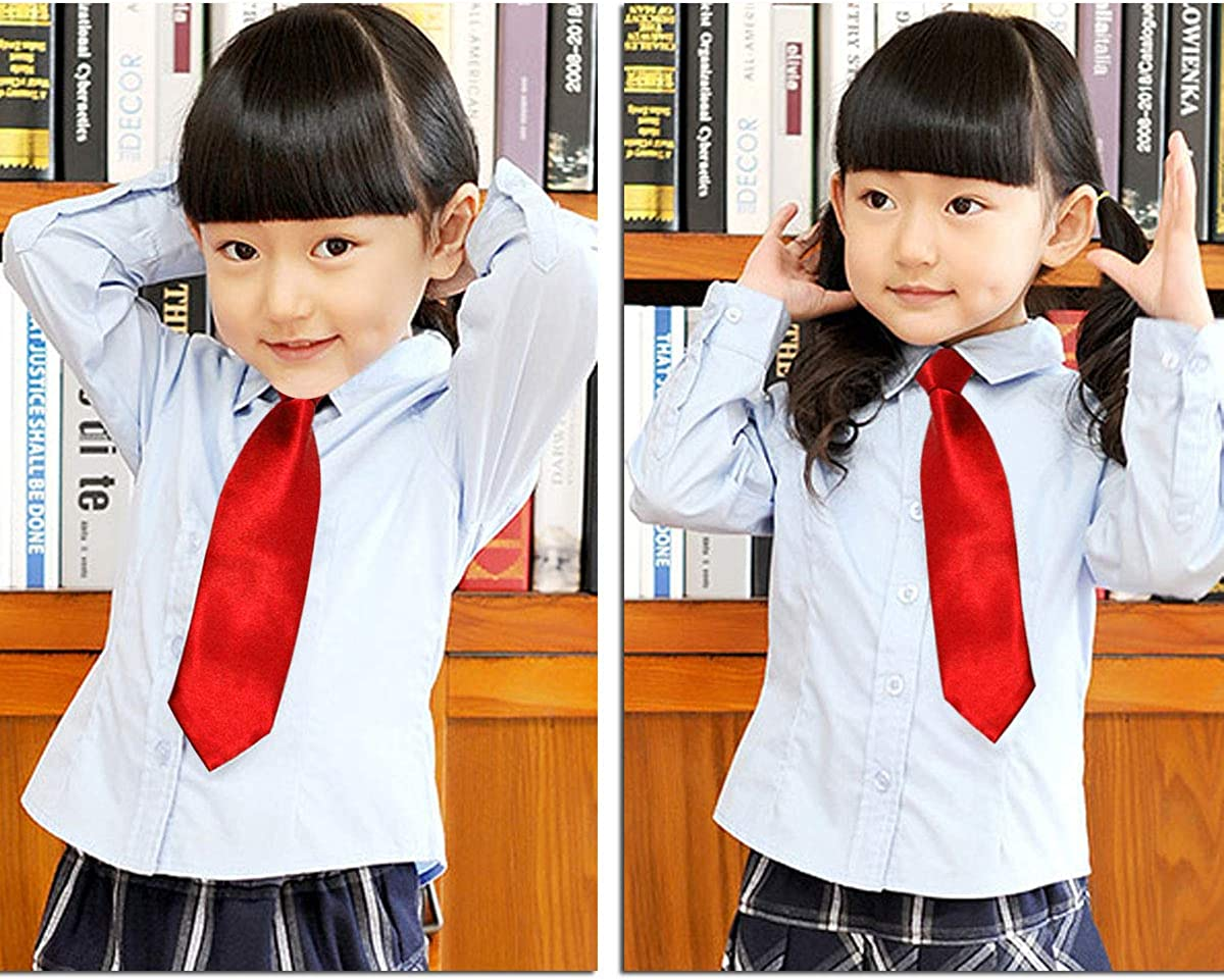 CellDeal-Satin Child Kids School Boy Wedding Elastic Neck Tie Red