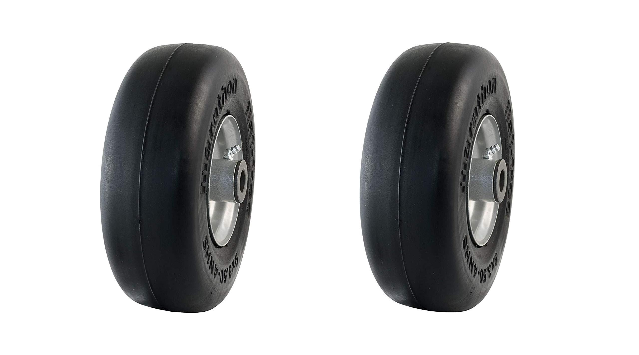 Marathon 9x3.50-4'' Flat Free Tire on Wheel, 4'' Centered Hub, 3/4'' Bushings (Pack of 2) by Marathon Industries