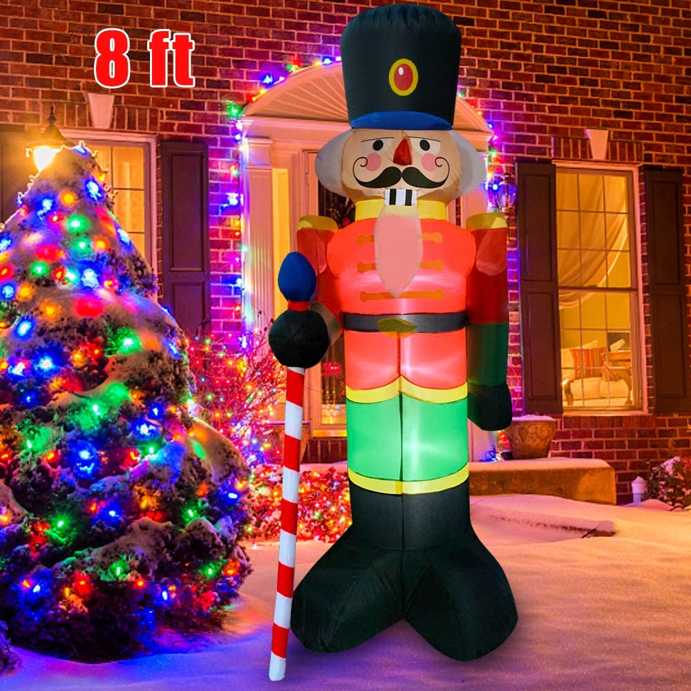 BLOWOUT FUN 8ft Inflatable Giant Christmas Nutcracker LED Blow Up Lighted Decor Indoor Outdoor Holiday Art Decor Decorations