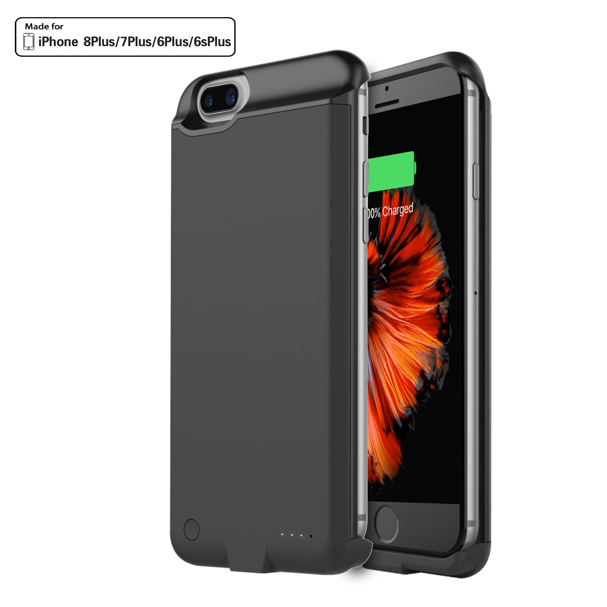 iPhone 7 Plus Battery Case, Techkey Charging Case 5000mAh Battery Pack Power Bank Charger Case Backup Battery Cover for iPhone7 Plus/iPhone 6S Plus/iPhone 6 Plus(Black)