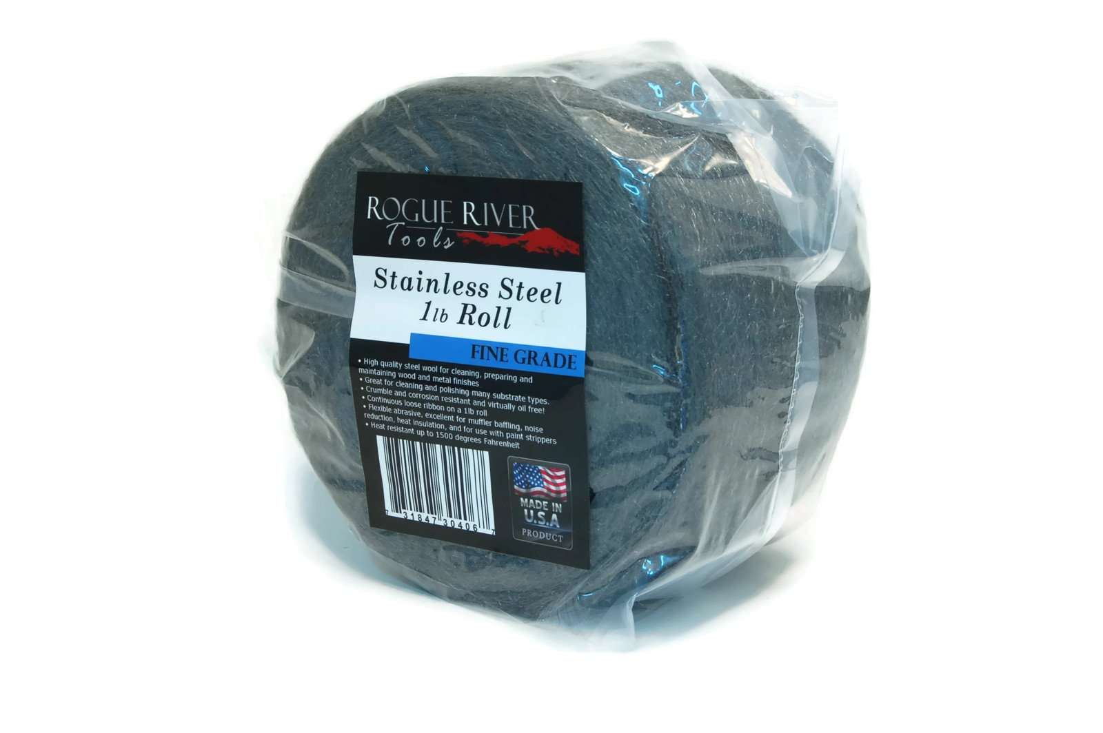 Rogue River Tools Stainless Steel Wool 1lb Roll (Fine Grade) - Made in USA! by Rogue River Tools