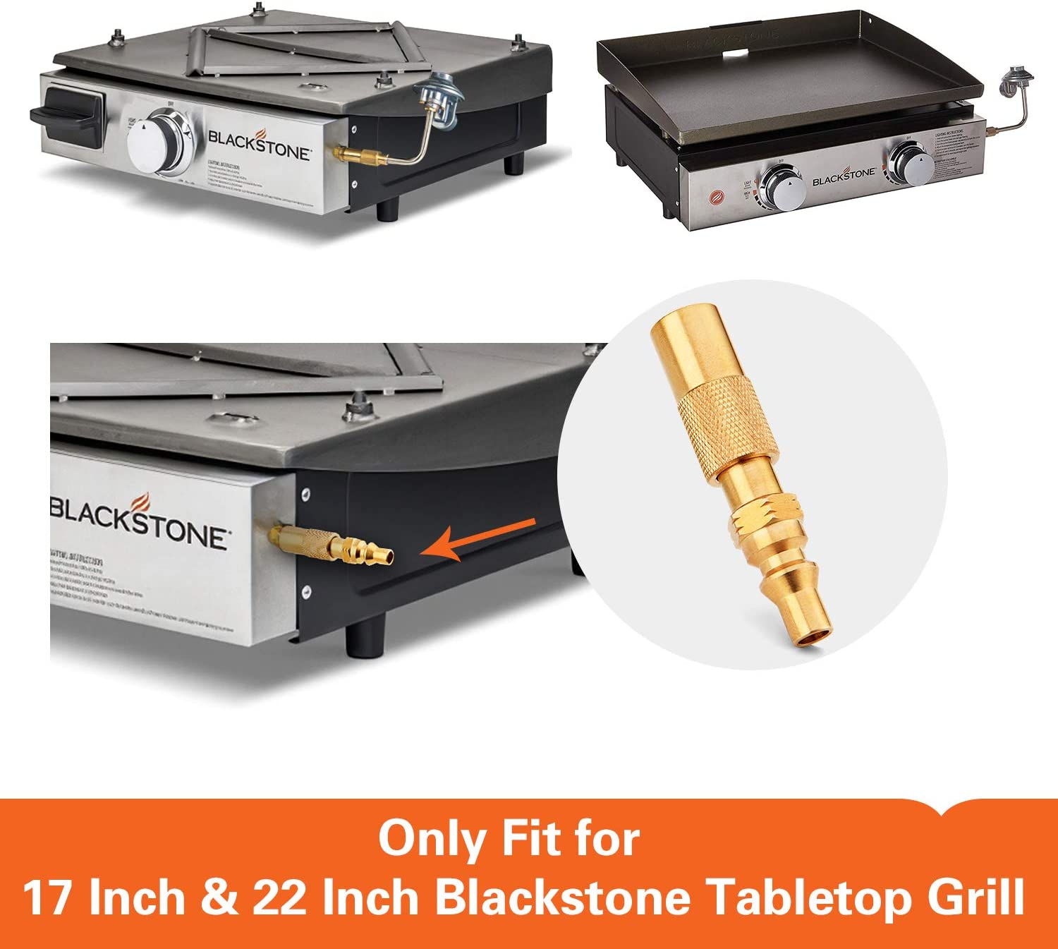 17 Inch and 22 Inch Portable Gas Griddle Kohree 1//4 Inch RV Low Pressure Quick Connect//Disconnect Conversion Fitting Adapter for Blackstone Tabletop Grill