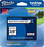 """Genuine Brother 3/8"""" (9mm) Black on White TZe P-touch Tape for Brother PT-1000, PT1000 Label Maker"""