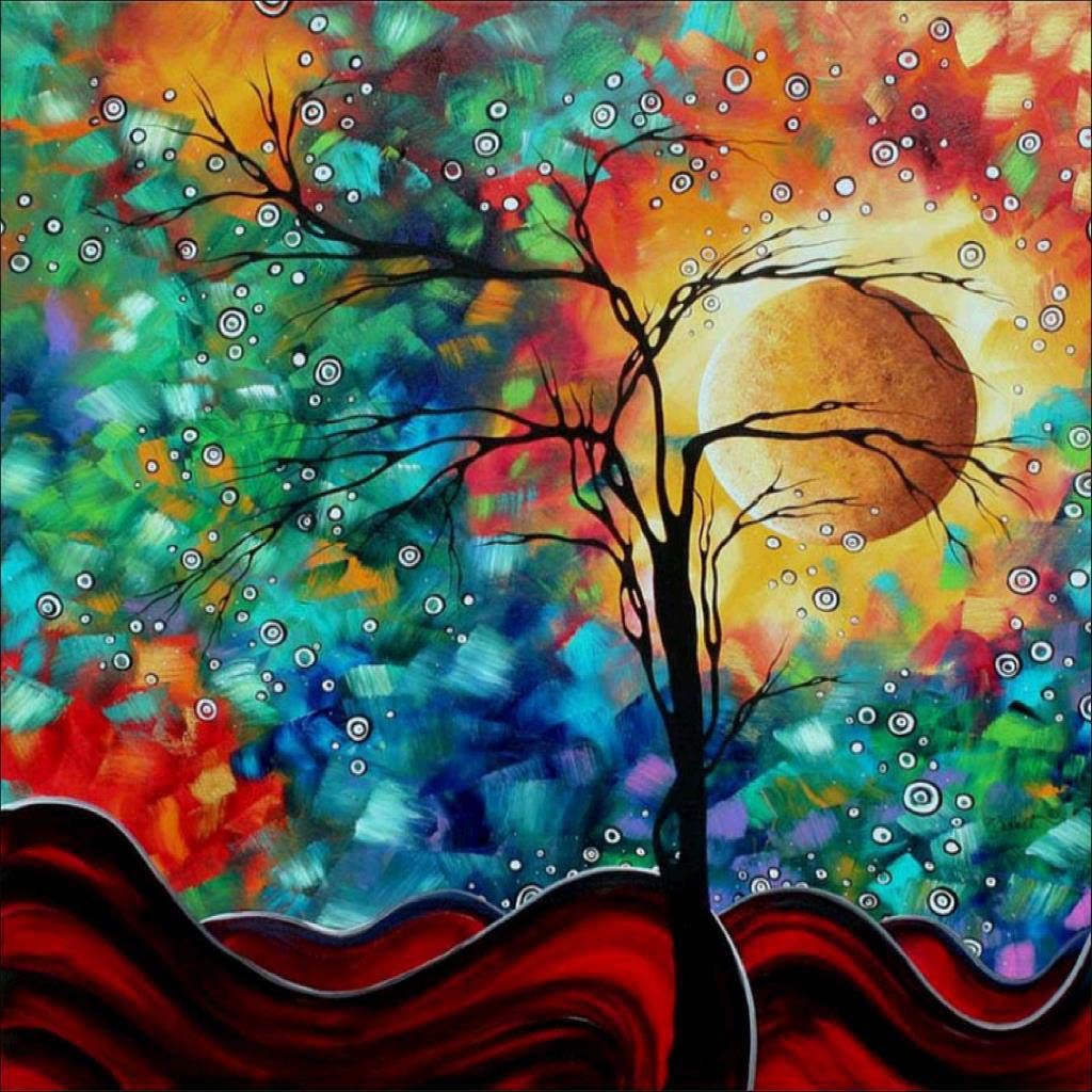 DIY 5D Diamond Painting by Number Kits Full Round Drill Rhinestone Embroidery Cross Stitch Picture Art Craft Home Wall Decor Moon Color Tree 12x12In MXJSUA