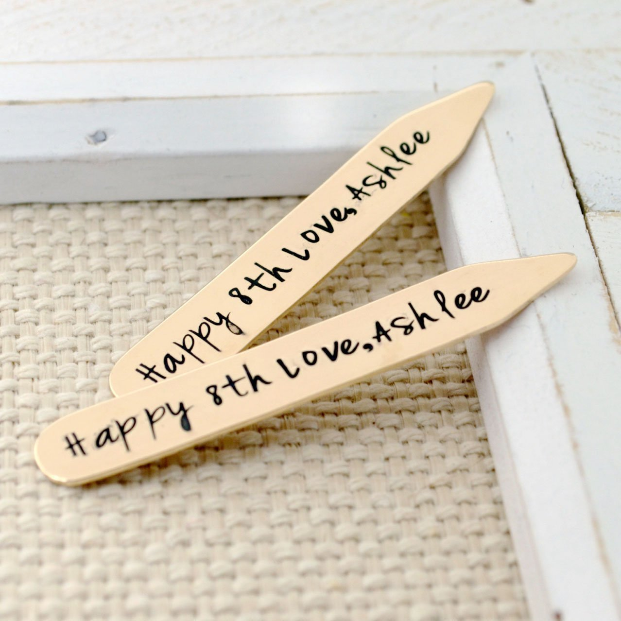 """Bronze Collar Stays Personalized Anniversary Gift for Him - 2.25"""""""