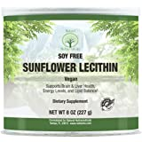 Natural Nutra Sunflower Lecithin Powder, Soy Free with Inositol, Omega 3-6 and Choline, 8 Oz Vegan Supplement