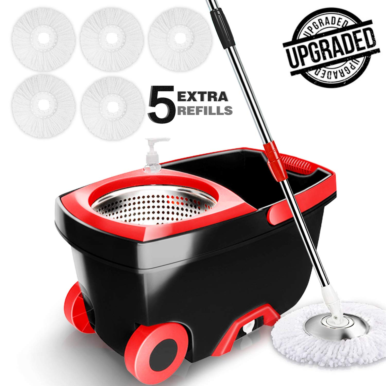Spin Mop Bucket System - Tsmine Easy Wringer Microfiber Spinning Mop with 61 Inch Extended Handle, 2x Wheels, Stainless Steel Drainage Basket, 5 Extra Microfiber Head Refills for Home Floor Cleaning