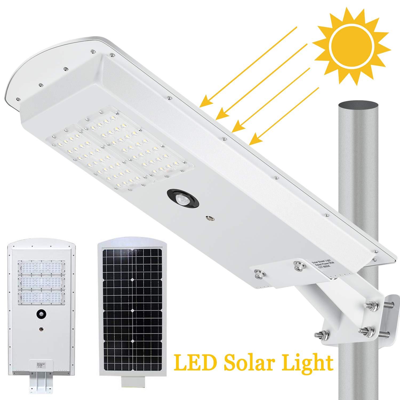 LEDMO Solar LED Street Light 3-Mode Setting Lithium Battery Cordless Solar Powered 6500k by LEDMO