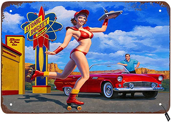 Swono Pin Up Girl Tin Signs,Sexy Waiter Girl Came Up on Roller-Skates Serving Food for Guests Vintage Metal Tin Sign for Men Women,Wall Decor for Bars,Restaurants,Cafes Pubs,12x8 Inch